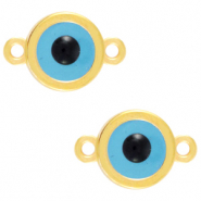 "DQ European metal charms connector ""evil eye"" Gold (nickel free)"