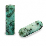 Natural stone beads tubes Turquoise Green