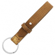 Cuoio keychain 15mm croco Tobacco Brown-Gold