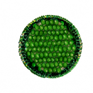 Crochet pendants with faceted beads round Eden green