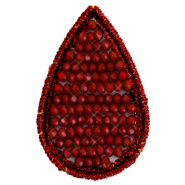 Crochet pendants with faceted beads drop Carmine red