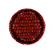 Crochet pendants with faceted beads round Carmine red