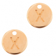 DQ European metal charms initial X Rose Gold (nickel free)