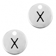 DQ European metal charms initial X Antique Silver (nickel free)