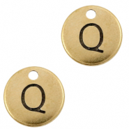 DQ European metal charms initial Q Antique Bronze (nickel free)