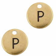 DQ European metal charms initial P Antique Bronze (nickel free)