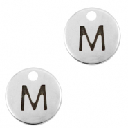 DQ European metal charms initial M Antique Silver (nickel free)