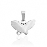 Stainless steel charms butterfly with stone Silver