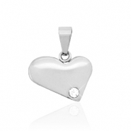 Stainless steel charms heart with stone Silver