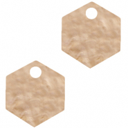 Resin pendants hexagon Light Semolina Beige