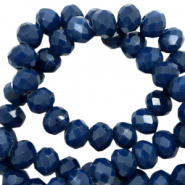 Top faceted beads 6x4mm disc Ensign Blue-Pearl Shine coating