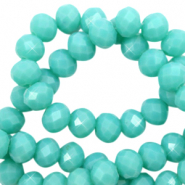 Top faceted beads 3x2mm disc Tiffany Blue-Pearl Shine Coating