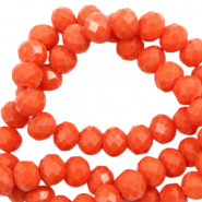 Top faceted beads 6x4mm disc Tangerine Tango Red-Pearl Shine Coating