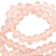 Top faceted beads 4x3mm disc Peachy Rose-Pearl Shine Coating