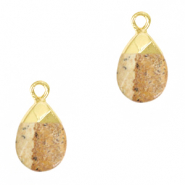 Natural stone charms Porcini Brown-Gold
