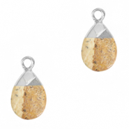 Natural stone charms Porcini Brown-Silver