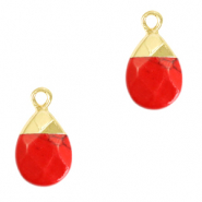 Natural stone charms Red Marble-Gold