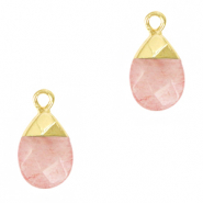 Natural stone charms Blossom Pink-Gold