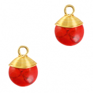 Natural stone charms wire wrapped Red Marble-Gold