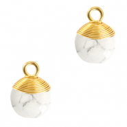 Natural stone charms wire wrapped White Marble-Gold