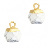 Natural stone charms hexagon White Marble-Gold