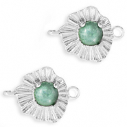 "Brass TQ metal charms connector ""sunny stone"" Silver-Azure Green"