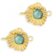"Brass TQ metal charms connector ""sunny stone"" Gold-Azure Green"