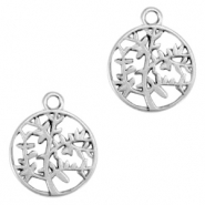 DQ European metal charms olive tree 15mm Antique Silver (nickel free)