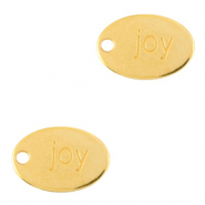 "DQ European metal charms oval ""joy"" Gold (nickel free)"
