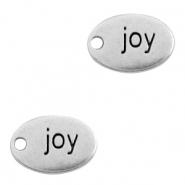 "DQ European metal charms oval ""joy"" Antique Silver (nickel free)"