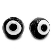 6 mm glass beads Evil Eye Black
