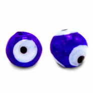 8 mm glass beads Evil Eye Cobalt Blue