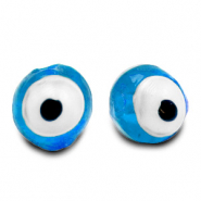 8 mm glass beads Evil Eye Sky Blue