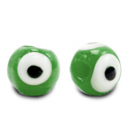 6 mm glass beads Evil Eye Classic Green