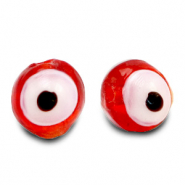 8 mm glass beads Evil Eye Red Orange