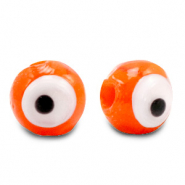 8 mm glass beads Evil Eye Orange