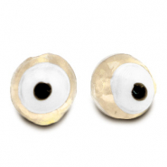 6 mm glass beads Evil Eye Off White