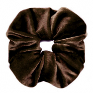 Scrunchies velvet hair tie Dark Brown