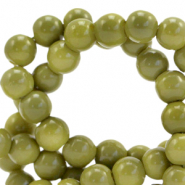 8 mm glass beads opaque Green Olive