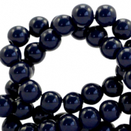 8 mm glass beads opaque Dark Blue