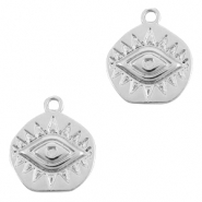 Brass TQ metal charms Eye of Providence Silver