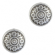 DQ European metal charms flowers 14mm Antique Silver (nickel free)