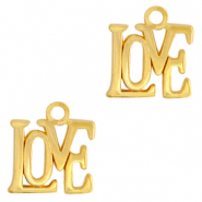 "DQ European metal charms ""love"" Gold (nickel free)"