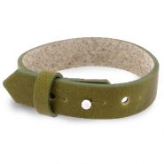 Cuoio bracelet leather 15 mm for 20 mm cabochon Olive Green