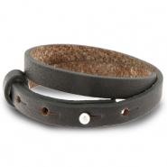 Cuoio bracelet leather 8 mm double for 12 mm cabochon Dark Anthracite
