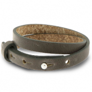 Cuoio bracelet leather 8 mm double for 12 mm cabochon Warm Stone Taupe