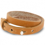 Cuoio bracelet leather 8 mm double for 12 mm cabochon Copper Brown
