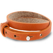 Cuoio bracelet leather 8 mm double for 12 mm cabochon Burnt Orange