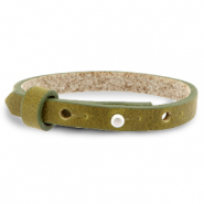 Cuoio bracelet leather 8 mm for 12 mm cabochon Olive Green
