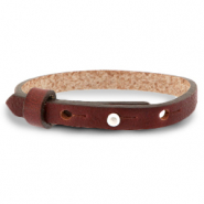 Cuoio bracelet leather 8 mm for 12 mm cabochon Burgundy Brown